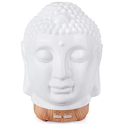 Cerámica Humidificador Aceites Esenciales,100ml Difusor Ultrasonico de Aceite Esenciales de Cabeza de Buda,Difusor de Aromaterapia con Modo de Niebla Ajustable,7 Luces LED de Color,Decoración Zen
