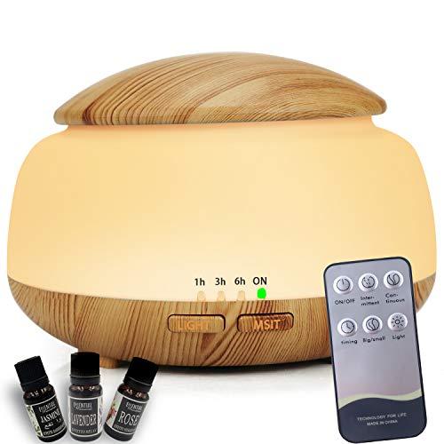 URUNIQ - Difusor prémium para aceites esenciales y aromaterapia con humidificador y atomización ultrasónica avanzada para oficinas, hogares y coches, madera de sándalo