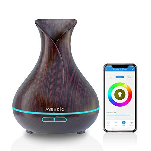 Maxcio WiFi Difusor Aromaterapia, Humidificador Ultrasónico Aceites Esenciales 7-Color LED 2 Modos de Niebla Controlable por Vía WiFi y Voz Compatible con Amazon Alexa y Google Home