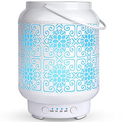 Difusor de Aceites Esenciales Blanco,SALKING 100ml Humidificador Aceites Esenciales Ultrasónico,Difusor de Aromaterapia con LED de 7 Colores y 4 Temporizadores, para el Hogar,Oficina ,Yoga