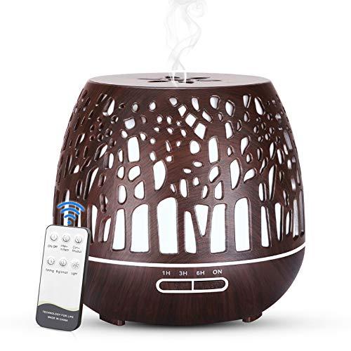 Simpeak Humidificador Ultrasónico y Difusor de Aroma 400 ml, atomizador de fragancia ultrasónico LED con control remoto-Bosque tallado, Madera Oscura
