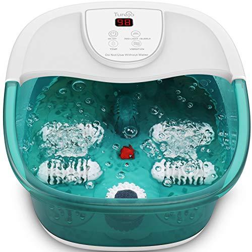 Bañera para Pies con Vibración Calentamiento Burbujas, Rodillos de Masaje, Piedra Pómez, Apagado Automático,Hidromasaje para Pies para Aliviar el Dolor de Pies