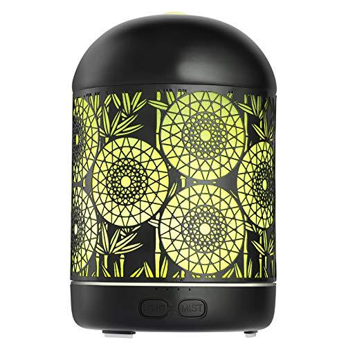 GeeRic Humidificador Aceites Esenciales,300ml humificador de Aromas en Metal Difusor de Aceite perfumado Nebulizador silencioso para aceites Esenciales con 7 Colores LED para Yoga Oficina Negro