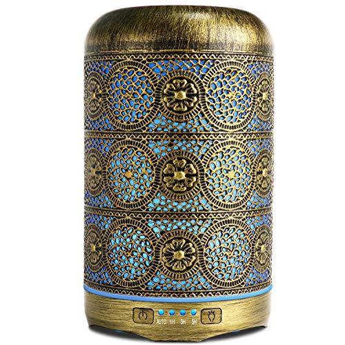 SALKING Difusor Aceites Esenciales,260ml Humidificador Ultrasónico,Metal Difusor de Aromaterapia con 7 Colores,4 Configuraciones de Temporizador y Sin Agua Auto-Apaga, Regalo para Mujer