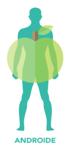 Personas con sobrepeso en forma de manzana