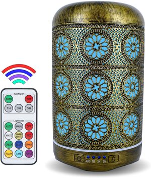 Difusor de aceites esenciales Humidificador 260 ml. Aida Metal con Mando a Distancia