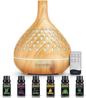 Difusor de aceites esenciales Humidificador 400 ml. Docoo Madera