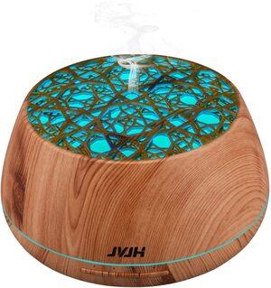 Difusor de aceites esenciales Humidificador 400 ml. JVJH Madera 14 luces LED