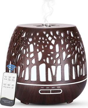 Difusor de aceites esenciales Humidificador 400 ml. Simpeak Color Efecto Madera Caoba