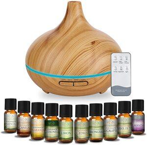 Difusor de aceites esenciales Humidificador 500 ml. MEVA Bambú con regalo 10 aceites